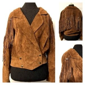 VTG Brown Leather Fringe Jacket 70s 80s Tassels